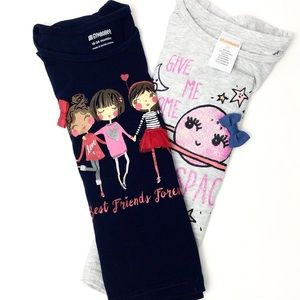 Gymboree Set of 2 girl t-shits blue grey pink red